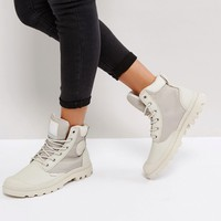 Palladium Pampa Silver Birch Sports Cuff Flat Ankle Boots at asos.com