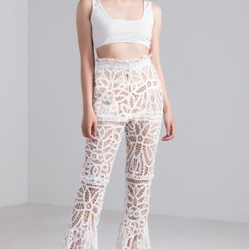 Kiki Riki Crochet Lace Sheer Flare Pants in White