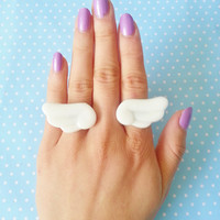 Kawaii Chibi Angel Wing Ring Set