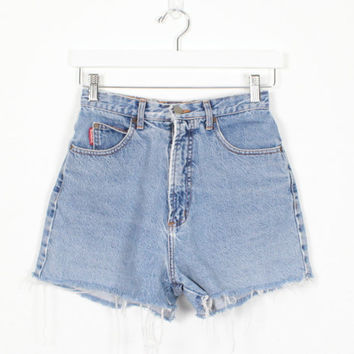 Vintage 1980s High Waisted Denim Shorts BONGO Denim Cut Offs Fringe Hem Mom Shorts Jean Shorts 1980s High Waisted Shorts XS S Small Cutoffs