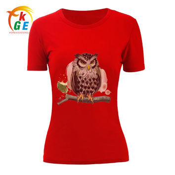 KGE Women T- Shirts Fashion Casual Style Owl Print Short Sleeve O-Neck Pullovers Slim Breathable Soft Female T Shirt