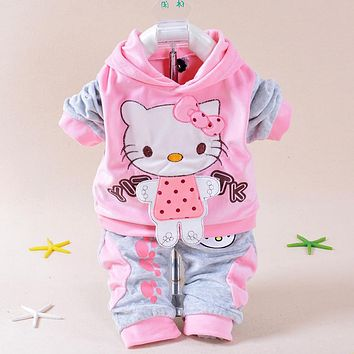 New 2016 Autumn Baby Kids Set Velvet Hello Kitty Cartoon T Shirt Hoodies Pant Twinset Long Sleeve Velour Children Clothing Sets