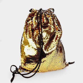 Reversible Sequin Drawstring Backpack Bag (Click For More Colors)