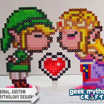 Link and Zelda Nintendo Legend of Zelda Kissy Perler Bead Sprites Gamer Wedding Cake Toppers