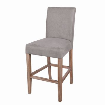 Hartford Fabric Counter Stool Brushed Smoke Legs, Denim Dove Gray