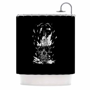 "BarmalisiRTB ""Broken Bulb Skull"" Black White Digital Shower Curtain"