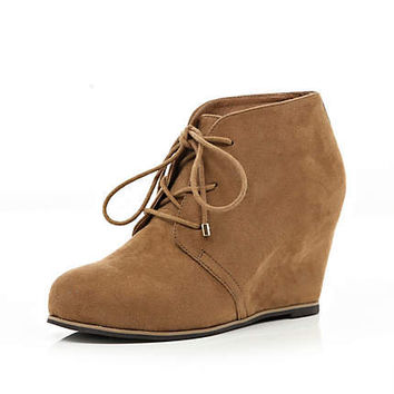 Brown lace up wedge ankle boots