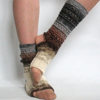 Yoga Socks Dance Pilates Ballet Brown Gray Leg Warmers ankle warmers dancer