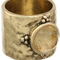 Lucky Brand Gold Set Stone Band Ring, Size 7