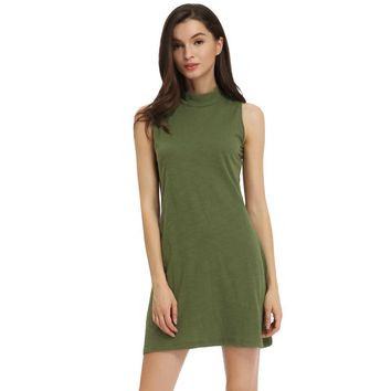 New Fashion Women Solid Mini Dress Turtleneck Sleeveless Cotton A-Line Dress Green