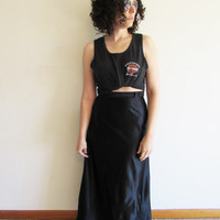Vintage 70s Black Disco / Punk / Indie / Rock and Roll Maxi Skirt