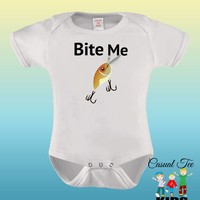 Bite Me Funny Fishing Baby Bodysuit for the Baby or Toddler Tee, Baby Boy Clothes, Gender Neutral