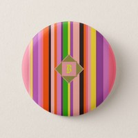 Cool Shecky colorful stripes texture with B monogr Button