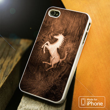 Ferrari Logo Brown iPhone 4 5 5C SE 6 Plus Case