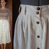 VINTAGE /// High Waisted White Button Up Skirt