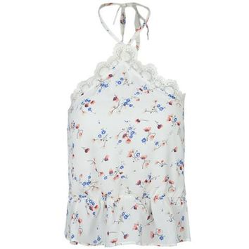 Sheer White Lace Halter Floral Print Casual Strappy Crop Top Peplum Blouse Women Summer Cropped Embroidery Girl Fashion Cute