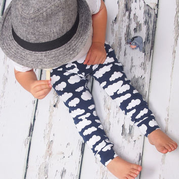 Baby leggings, Navy cloud, sky leggings, girls leggings, boys leggings, unisex baby, baby pants, baby clothing, boys leggings, girls legging