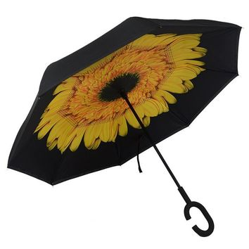 Ceiourich Windproof Double Layer Folding Inverted Umbrella Self Stand Upside-down Rain Protection Car Reverse Umbrella-001