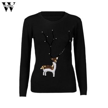 Good Deal  Fashion Winter Women Sweaters Womens Casual Christmas Deer Pearl Sequins Long Sleeve Jumper Sweaters dropship