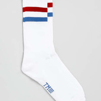 White and Red Stripe Tube Sport Socks - Men's Socks - Clothing