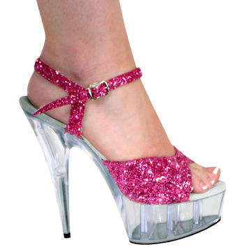 Hot Pink Glitter Ankle Strap Pole Dancer Shoe