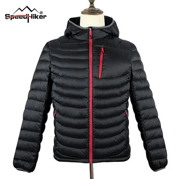 [Speed Hiker] Mens Down Parka 2016 Winter New Hooded Fashion Top Quality Waterproof Windproof Solid Color Plus size 3XL K8017