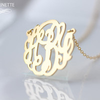 Monogram necklace  - 1 inch Personalized Monogram - Sterling silver 18k gold plated
