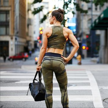 2017 new women's fashion camouflage printing yoga sports suit [190517674009]