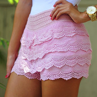 It's So Lacy Shorts: Baby Pink | Hope's