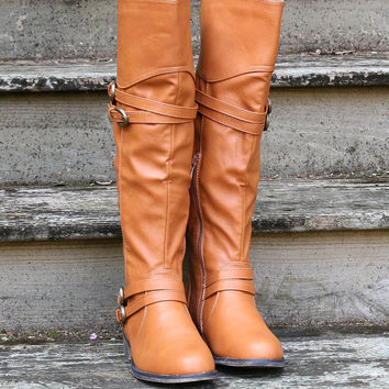 Road Maps Tan Tall Boots With Low Heel & Cross Strap Details