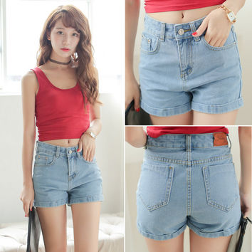 2016 summer new women's high waist denim shorts fashion women plus size jeans shorts female