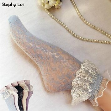 Fashion Women Girls Lace Ruffle Frilly Ankle Socks Hollow Harajuku Lovely Cute Vintage Retro Froral Lady White Princess Wedding