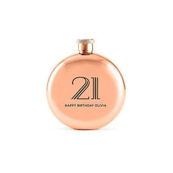Antique Rose Gold Round 3oz Hip Flask - Ladies or Men's (Pack of 1)