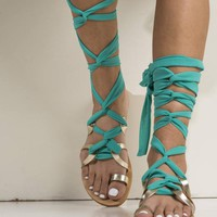 Greek gladiator sandals, Gold lace up leather sandals with extra long straps crafted