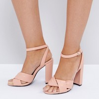 The March Twist Front Dusky Pink Block Heeled Sandals at asos.com