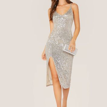 V-Neck Side Slit Spaghetti Strap Sequin Dress