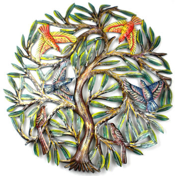 Handmade 24 inch Painted Tree with Birds Metal Wall Hanging Haiti