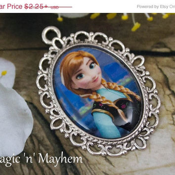 SALE - Anna - Disney's Frozen - Handcrafted - Pendant - Charm - Cabochon - Peasent Girl Outfit - Necklace