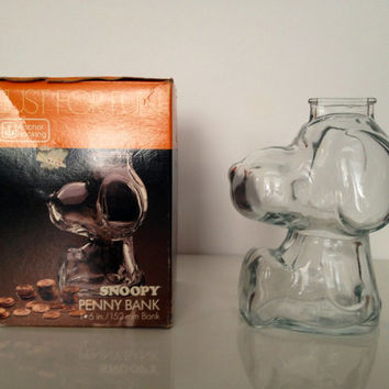 Vintage Snoopy Glass Coin Bank