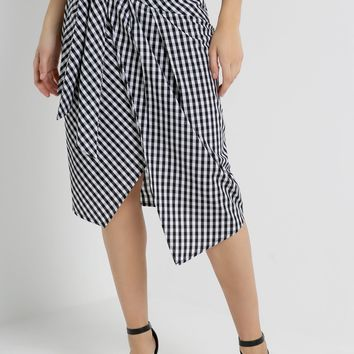 Gingham Tie Front Skirt