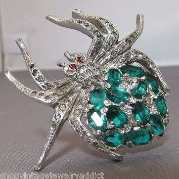 Vintage Art Deco Clear Emerald Glass Rhinestone Spider Brooch Figural Bug Pin