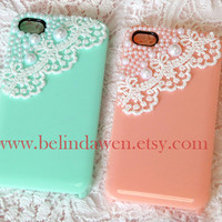 lace iphone 4 case, iphone 4s case, white lace and pearl  trim mint green Hard Case for Apple iPhone 4, iPhone 4s, iPhone 4 Hard Case