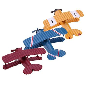 Vintage Metal Plane Model Aircraft Glider Biplane Airplane Model Home Wedding Decoration Kids Toys