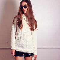 Cable Knit Speckled Effect Sweater – Sirenlondon