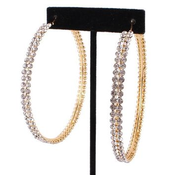 Two Row Austrian Crystal Gold Hoop Earrings