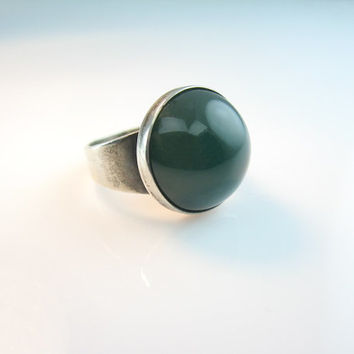 Denmark Silver Ring Sterling Silver Signed N E From Green Stone Vintage 1960s Space Age Danish Modern Design Size 7