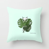 Cat hidden in the palm leaves Throw Pillow by Sagacious Design
