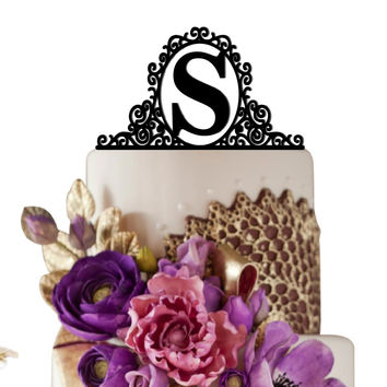 Personalized Birthday Cake Topper Initial in Mirror Cool