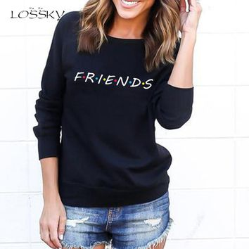 LOSSKY Fashion Friends Letter Print Long Sleeve Velvet Sweatshirt Women 2018 Autumn Winter Bts Kpop Casual O-neck Hooies Tops