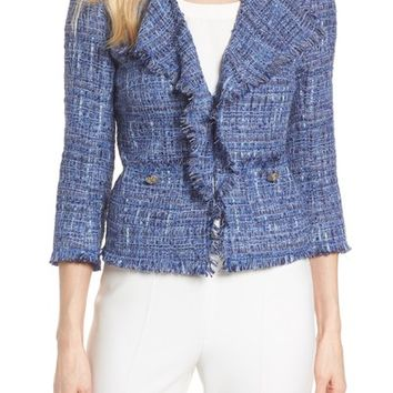 761fa14f6 Anne Klein Fringe Tweed Jacket | Nordstrom